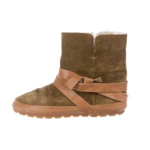 Isabel Marant Shearling-Trimmed Suede Boots